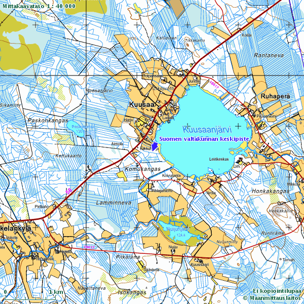 Suomen keskipiste rajojen mukaan.